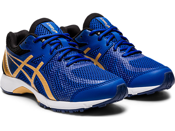 Front Right view of LAZERBEAM® RE, ASICS BLUE/PURE GOLD