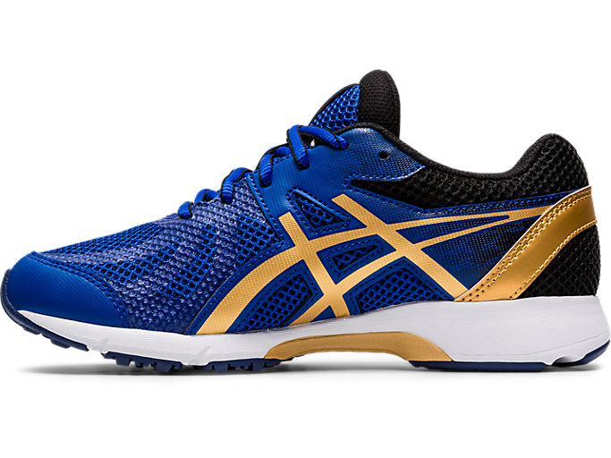 Left side view of LAZERBEAM® RE, ASICS BLUE/PURE GOLD
