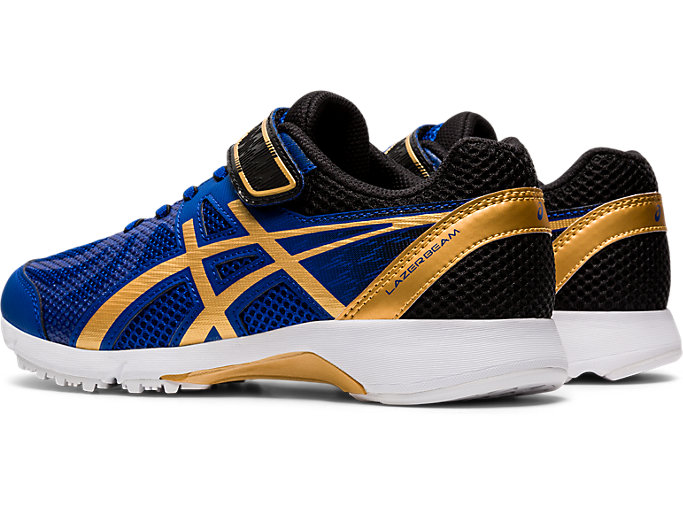 Front Left view of LAZERBEAM® RE-MG-W, ASICS BLUE/PURE GOLD