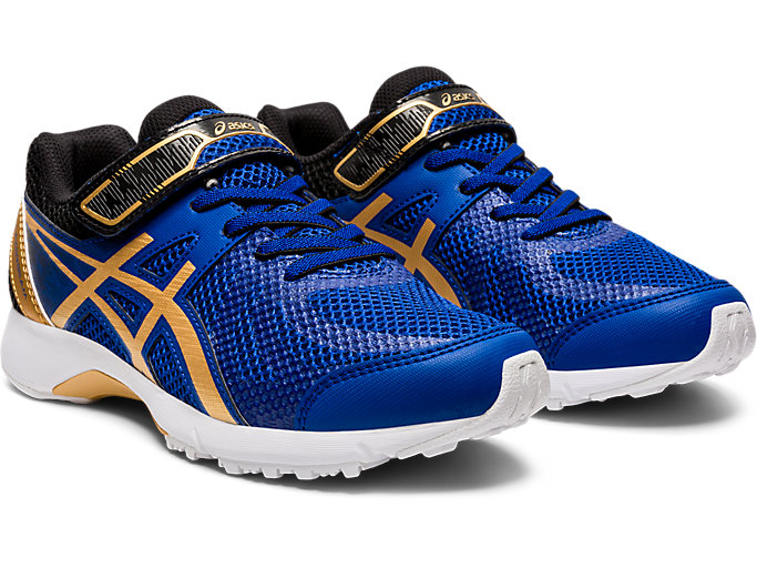 Front Right view of LAZERBEAM® RE-MG-W, ASICS BLUE/PURE GOLD