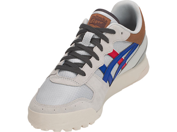 Front Left view of TIGER HORIZONIA, GLACIER GREY/ASICS BLUE