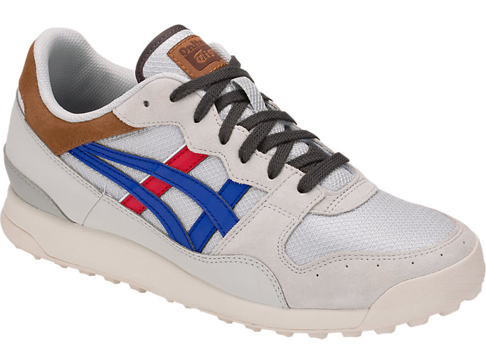Front Right view of TIGER HORIZONIA, GLACIER GREY/ASICS BLUE