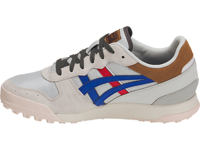 Left side view of TIGER HORIZONIA, GLACIER GREY/ASICS BLUE