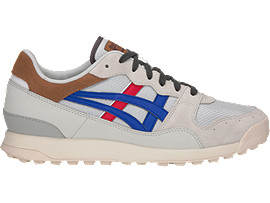 Right side view of TIGER HORIZONIA, GLACIER GREY/ASICS BLUE