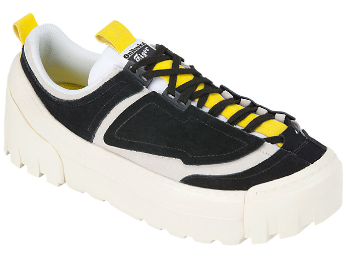 Front Right view of CHUNKY RUNNER LO, BLACK/VIBRANT YELLOW