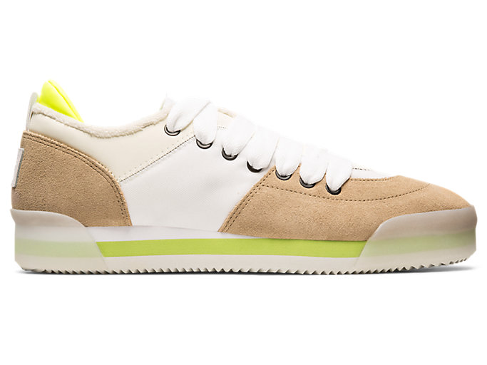 Right side view of KAMO TRAINER, WHITE/WOOD CREPE