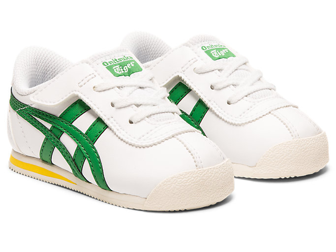Front Right view of Tiger Corsair Pre-School, WHITE/GREEN