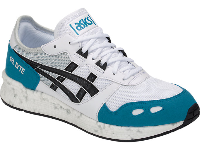Front Right view of HyperGEL-LYTE, WHITE/TEAL BLUE