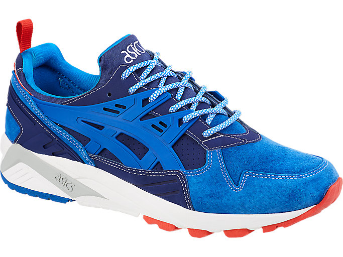 Front Right view of ASICS X Mita GEL-Kayano Trainer, INDIGO BLUE/DIRECTOIRE BLUE