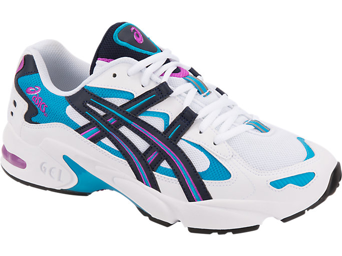 Front Right view of GEL-KAYANO 5 OG, WHITE/MIDNIGHT