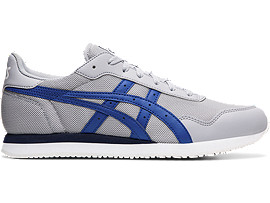 Right side view of TIGER RUNNER, PIEDMONT GREY/ASICS BLUE