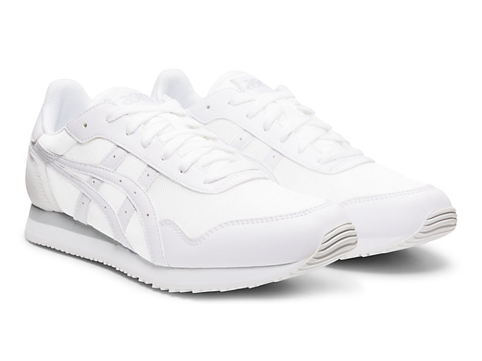 Front Right view of TIGER RUNNER, WHITE/WHITE