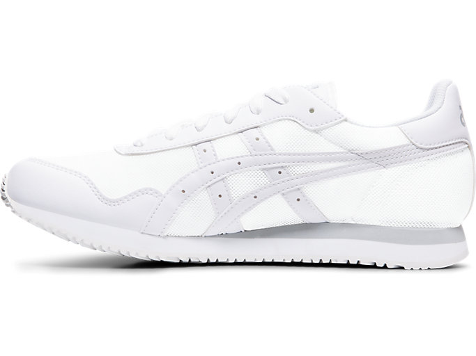 Left side view of TIGER RUNNER, WHITE/WHITE