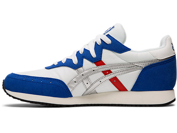Left side view of TARTHER™ OG, WHITE/ASICS BLUE