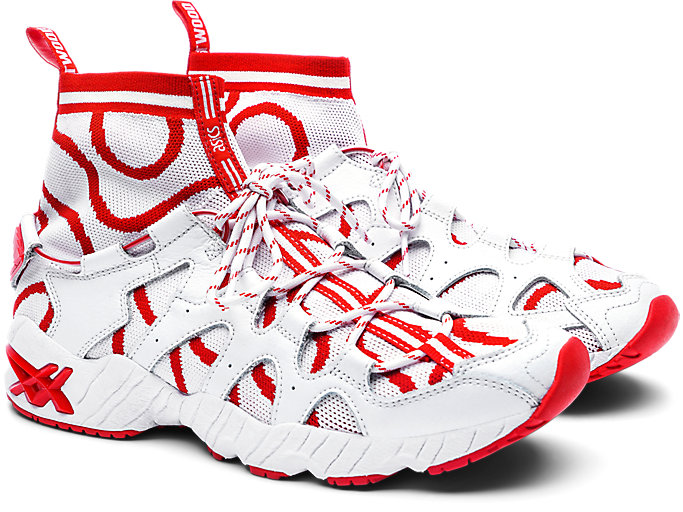 Front Right view of GEL-MAI KNIT MT, WHITE/FIERY RED
