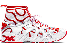 Right side view of GEL-MAI KNIT MT, WHITE/FIERY RED