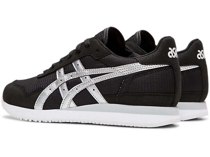 Front Left view of TIGER RUNNER, BLACK/SILVER