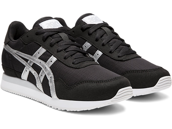 Front Right view of TIGER RUNNER, BLACK/SILVER