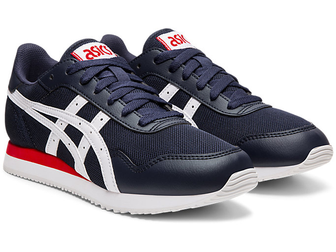 Front Right view of TIGER RUNNER, MIDNIGHT/WHITE