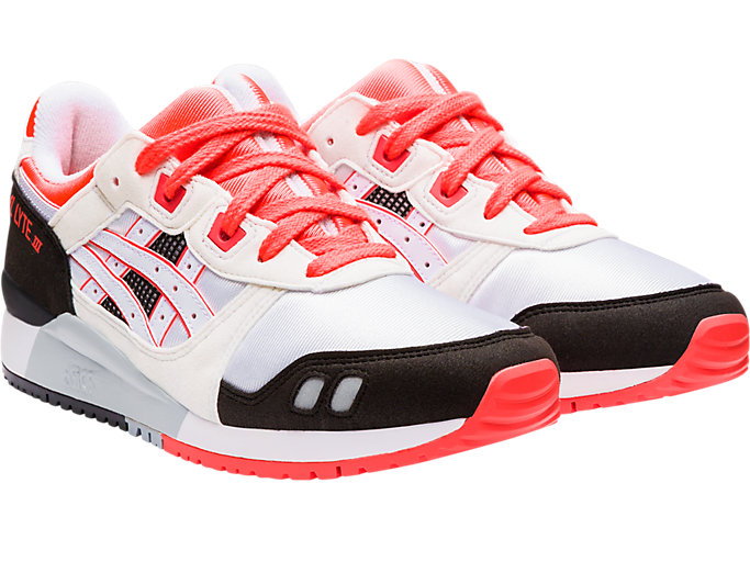 Front Right view of GEL-LYTE III OG, WHITE/FLASH CORAL
