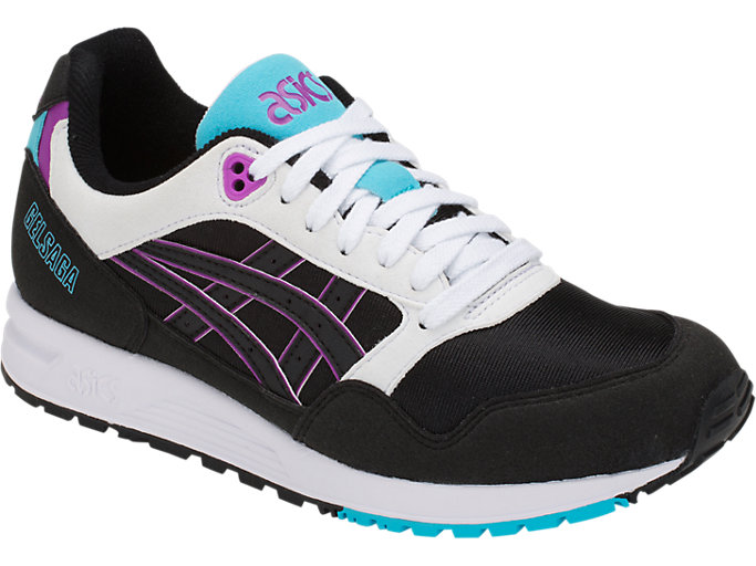 Front Right view of GEL-SAGA, BLACK/ORCHID