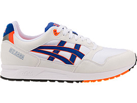 Right side view of GEL-SAGA, WHITE/ASICS BLUE
