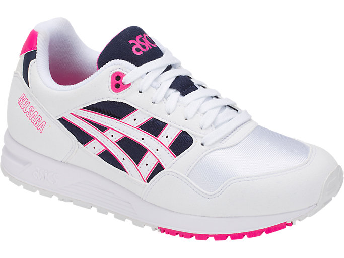 Front Right view of GEL-SAGA, WHITE/PINK GLO