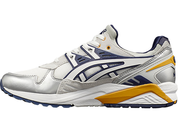 Left side view of Naked x ASICS GEL-KAYANO TRAINER, WHITE/PEACOAT
