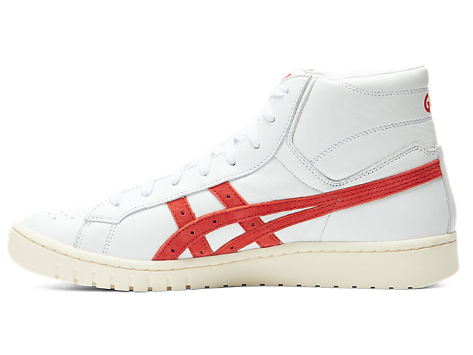Left side view of GEL-PTG MT, WHITE/CLASSIC RED