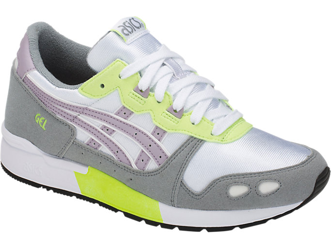 Front Right view of GEL-LYTE GS, WHITE/SOFT LAVENDER