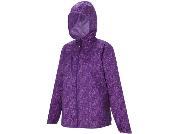 Front Top view of FUJITRAIL PACKABLE JACKET, Purple Magic Print