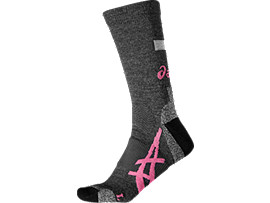 Front Top view of WINTER RUNNING SOCK, DARK GREY/CAMELION ROSE