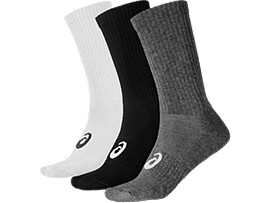 Front Top view of 3PPK CREW SOCK, Col. Assorted