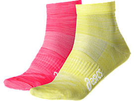 UNISEX 2-PAK TECH TRAININGSSOKKEN, Diva Pink/Blazing Yellow