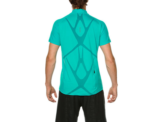 RACE SHORT SLEEVE HALF ZIP TOP PEACOCK GREEN 7