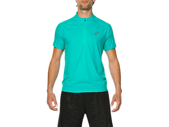 RACE SHORT SLEEVE HALF ZIP TOP PEACOCK GREEN 3