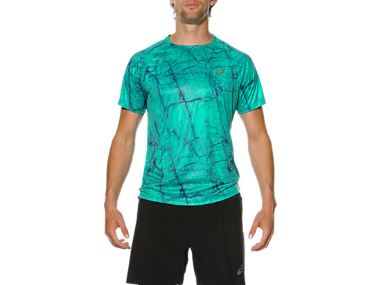 FujiTrail GRAPHIC SHORT SLEEVE TOP PEACOCK MARBLE PRINT 3