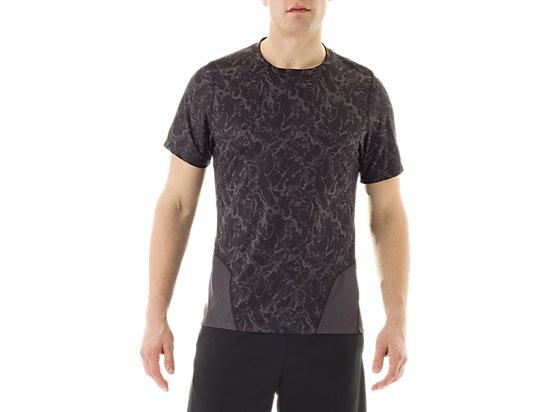 Short Sleeve Top Zero Distract Black Marble Print 3