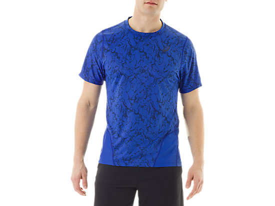 Short Sleeve Top Zero Distract Airforce Blue Marble Print 3