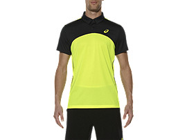 Front Top view of PADEL PLAYERS POLO, Safety Yellow