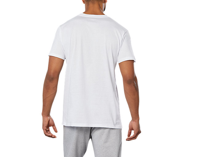 Back view of SPORT LOGO TEE, WHITE/FLASH CORAL