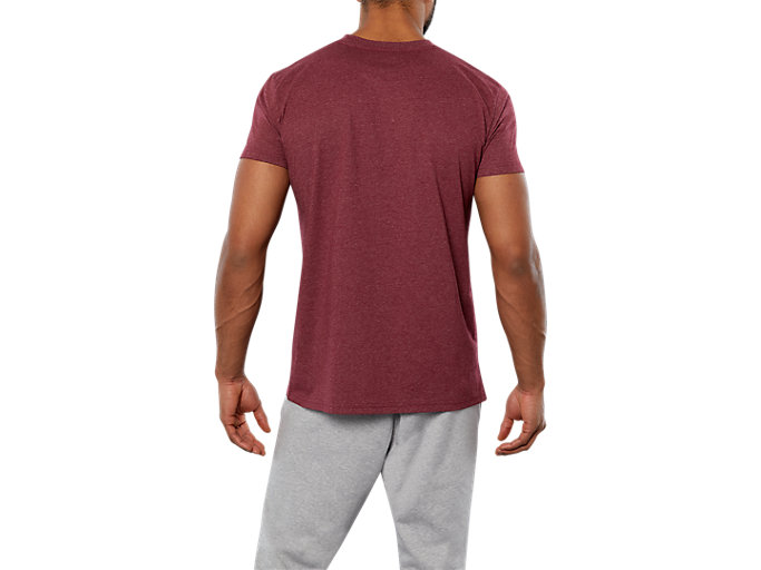 Back view of SPORT LOGO TEE, CORDOVAN HEATHER/  WHITE