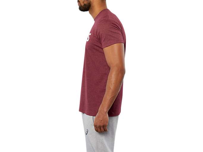 Side view of SPORT LOGO TEE, CORDOVAN HEATHER/  WHITE