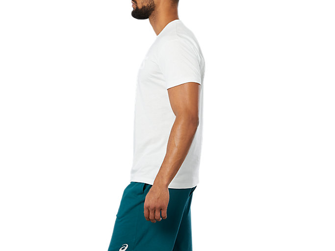 Side view of SPORT LOGO TEE, SPROUT GREEN HEATHER/ WHITE
