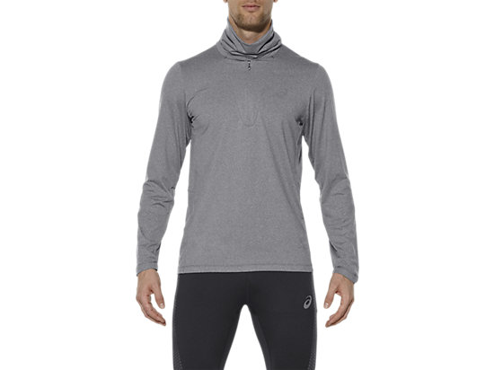 THERMOPOLIS TOP MET LANGE MOUWEN EN HALVE RITS DARK GREY HEATHER 3