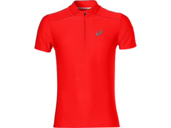 SS 1/2 ZIP TOP, Fiery Red