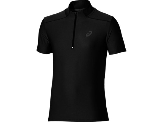 SS 1/2 ZIP TOP PERFORMANCE BLACK 3 FT