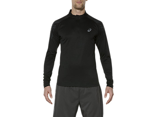 ASICS STRIPE LONG-SLEEVED HALF-ZIP TOP, Performance Black