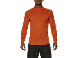 ASICS STRIPE LONG-SLEEVED HALF-ZIP TOP