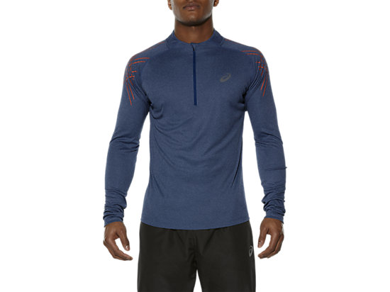 ASICS STRIPE LONG-SLEEVED HALF-ZIP TOP, Poseidon Heather